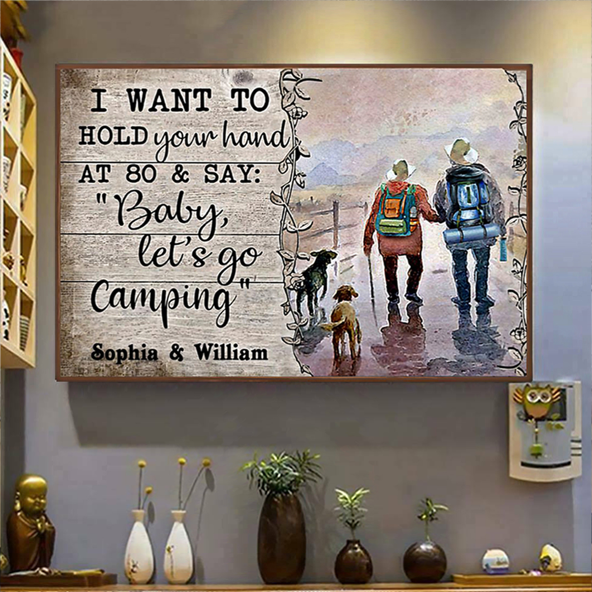 Personalized custom name husband wife camping poster A2