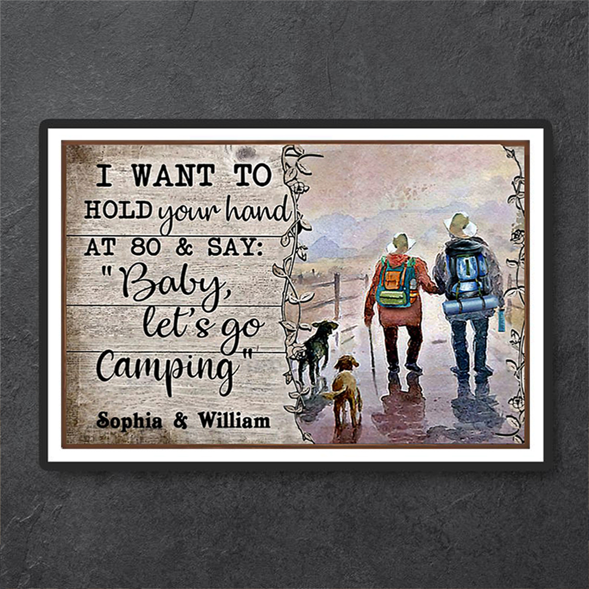 Personalized custom name husband wife camping poster A3