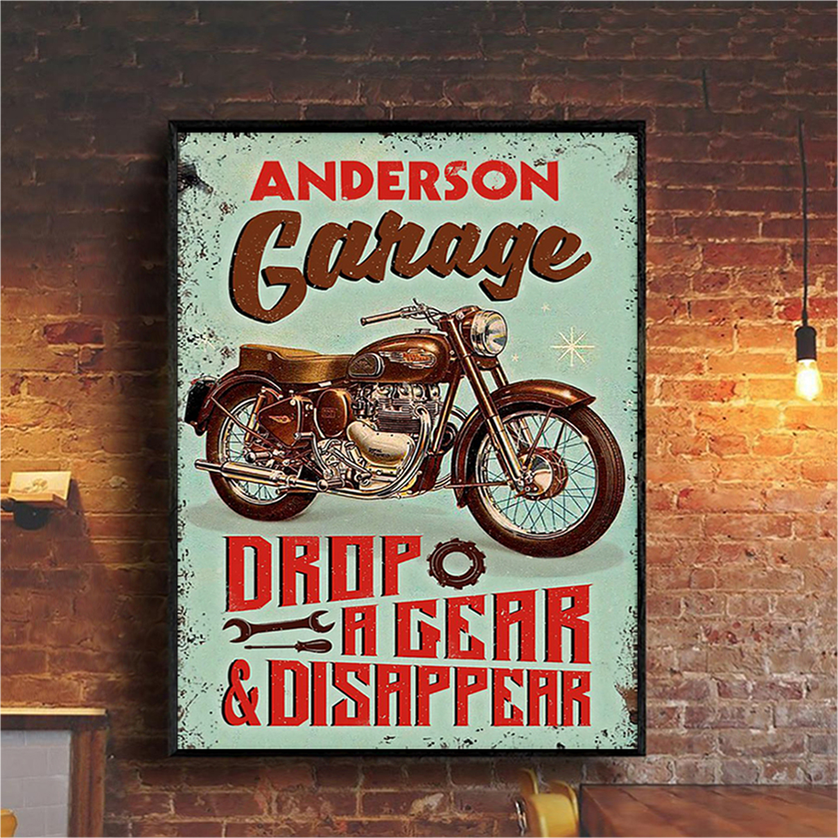 Personalized custom name motorcycle garage drop a gear and disappear poster A2