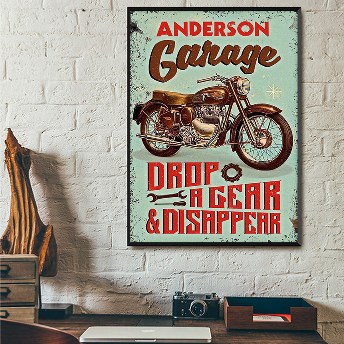 Personalized custom name motorcycle garage drop a gear and disappear poster A3