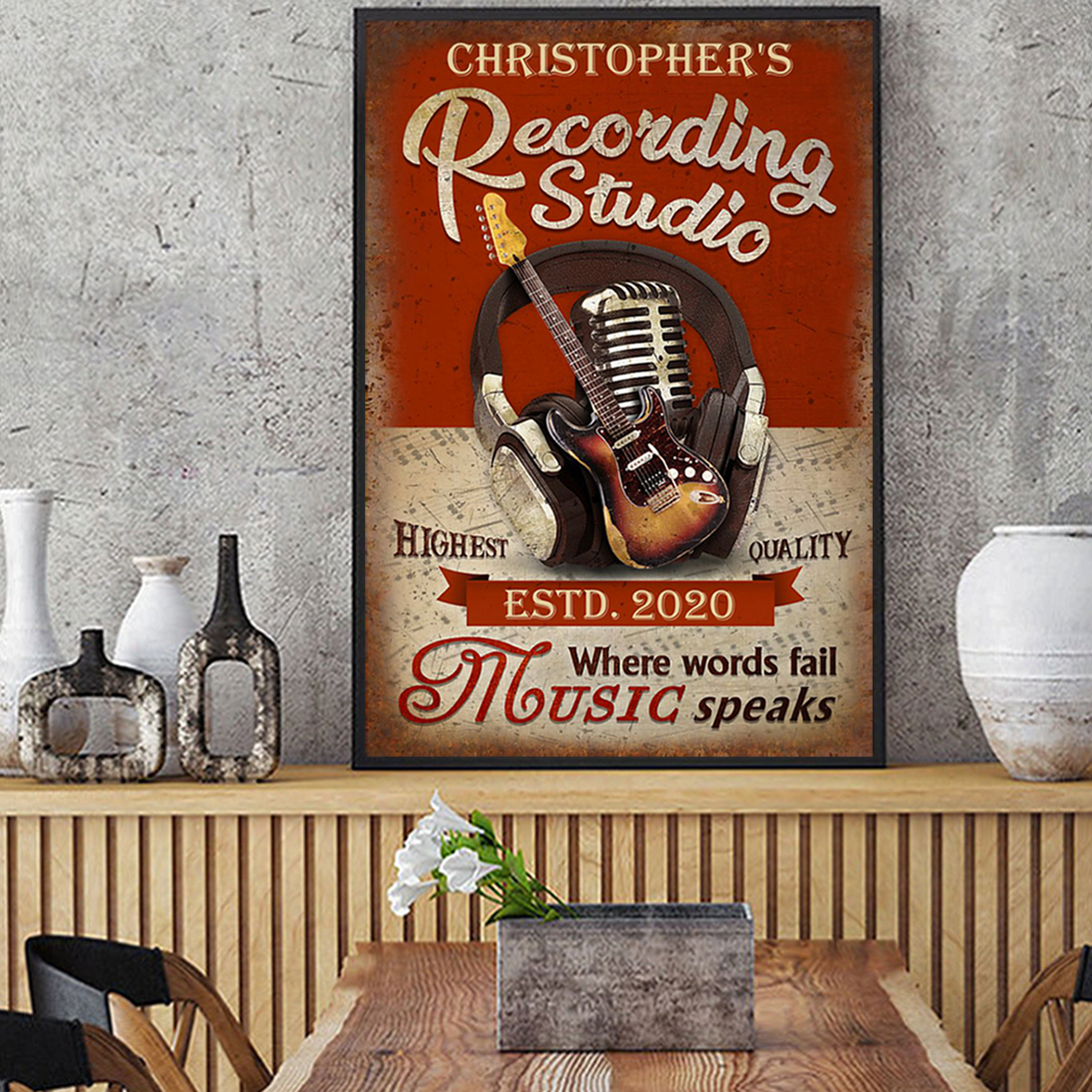 Personalized custom name recording studio guitar where words fail poster A3