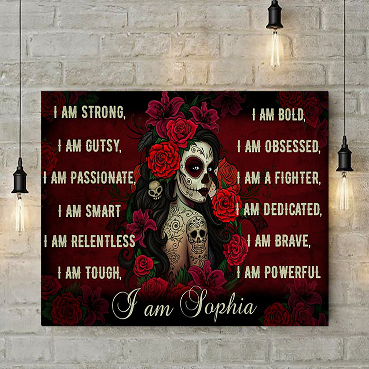Personalized custom name sugar skull I am poster A3