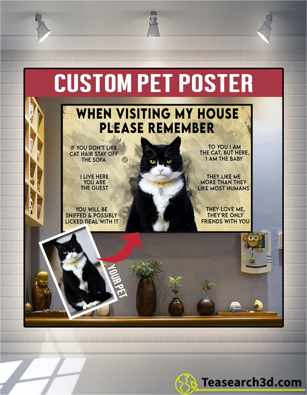 Personalized custom pet when visiting my house poster A1