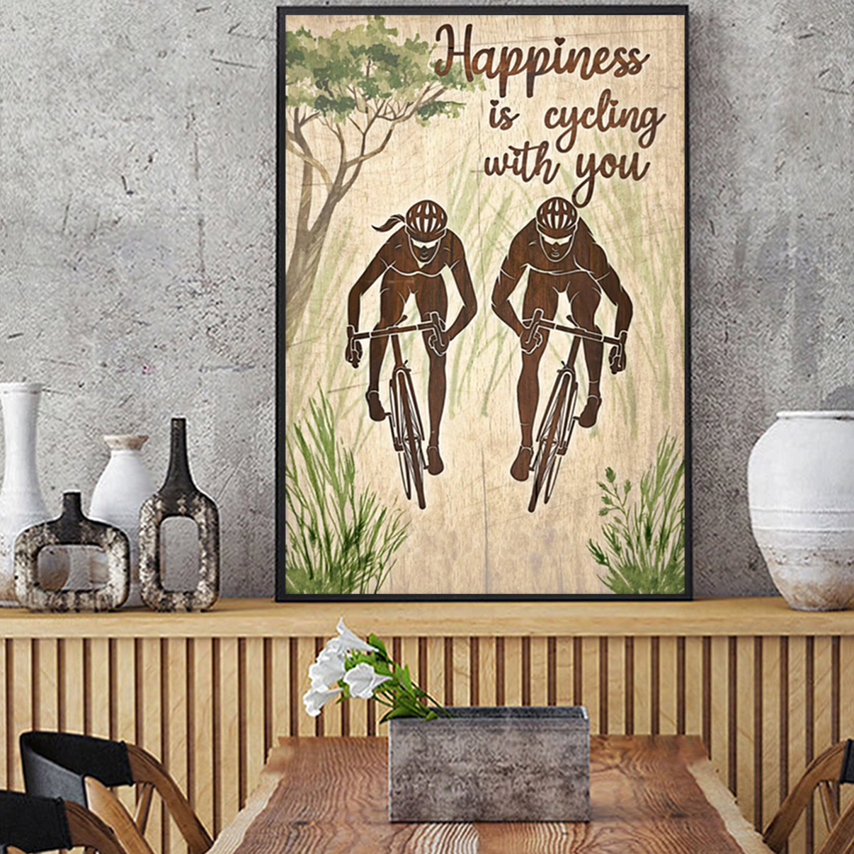Personalized happiness is cycling with you poster A1