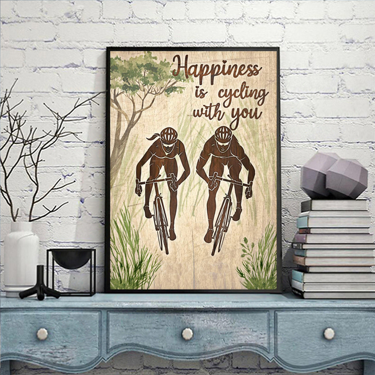 Personalized happiness is cycling with you poster A2