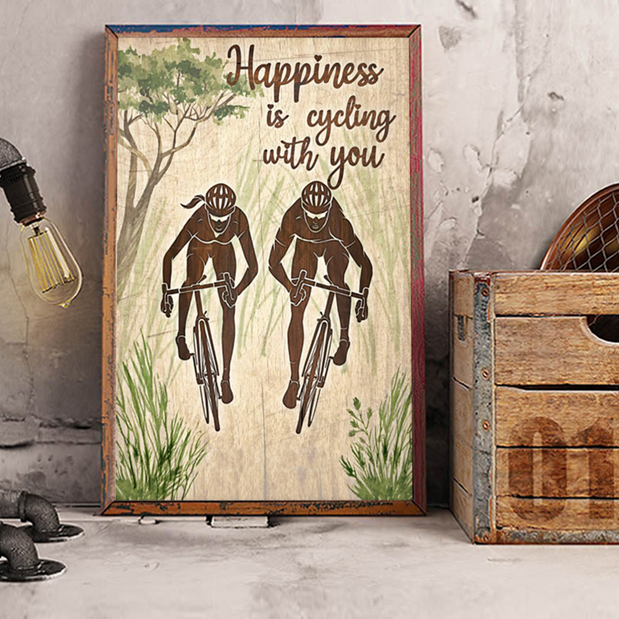 Personalized happiness is cycling with you poster A3