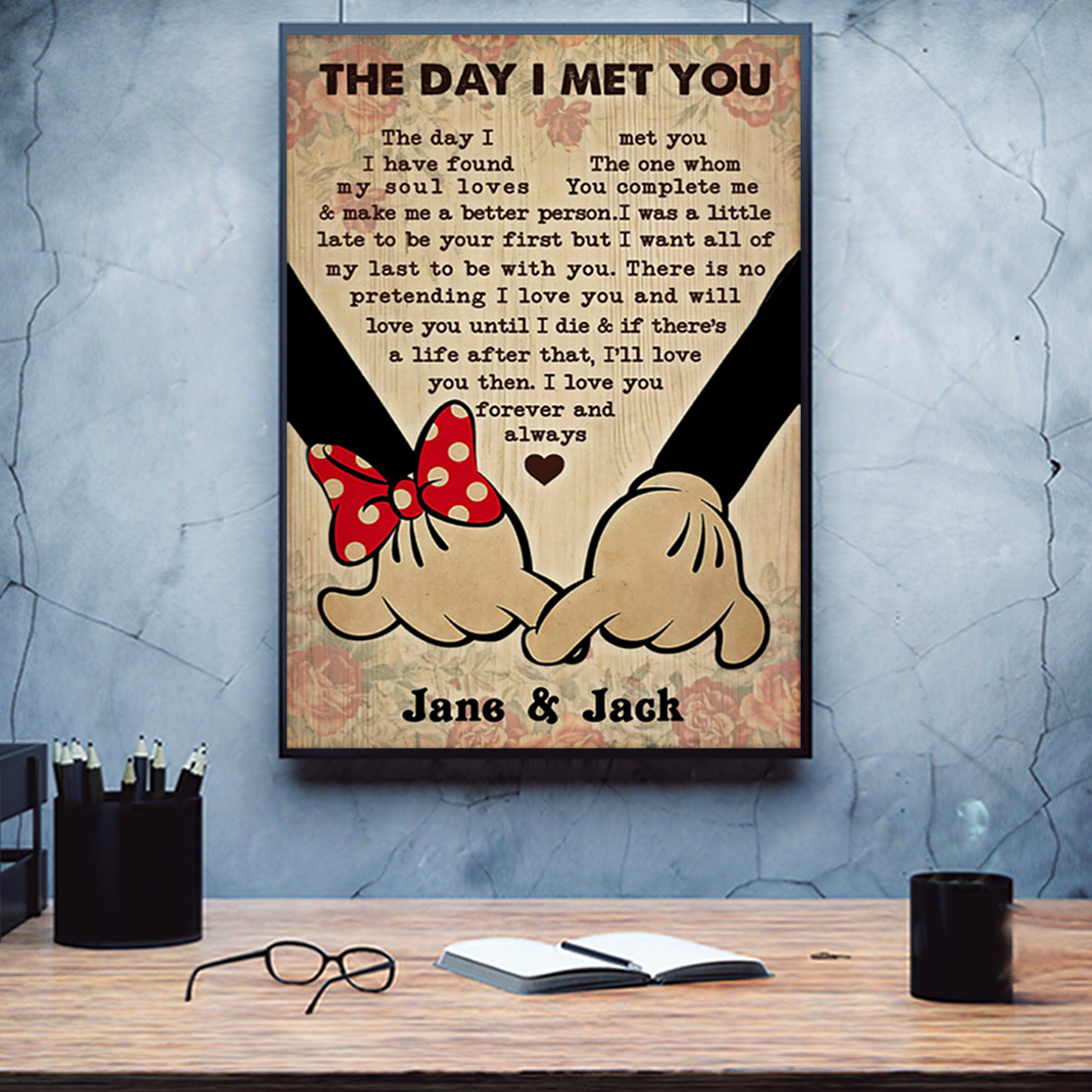 Personalized mickey and minnie the day I met you poster A1