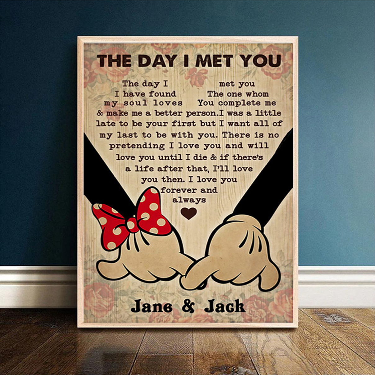 Personalized mickey and minnie the day I met you poster A2