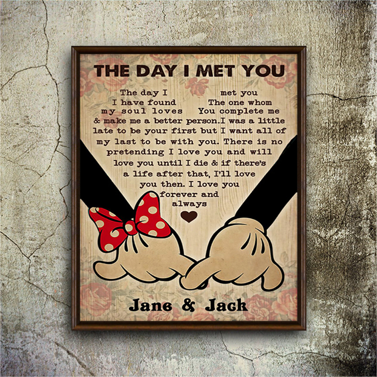 Personalized mickey and minnie the day I met you poster A3