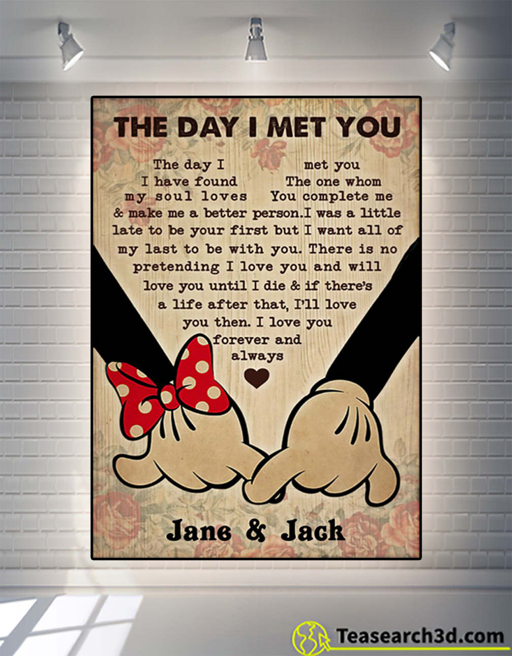 Personalized Mickey And Minnie The Day I Met You Poster