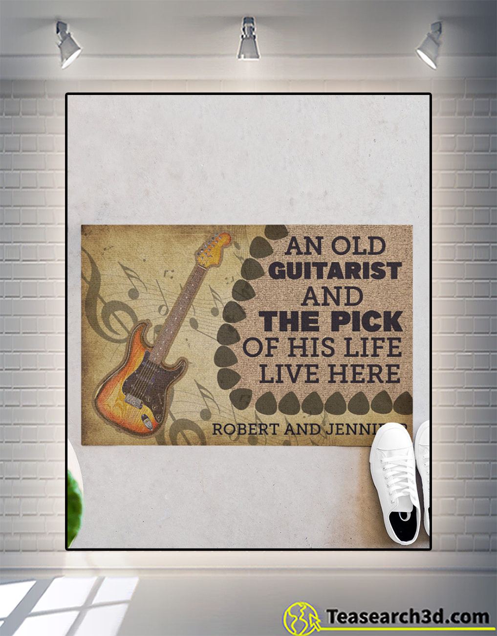 Personalized name An old guitarist and the pick of his life live here doormat size M