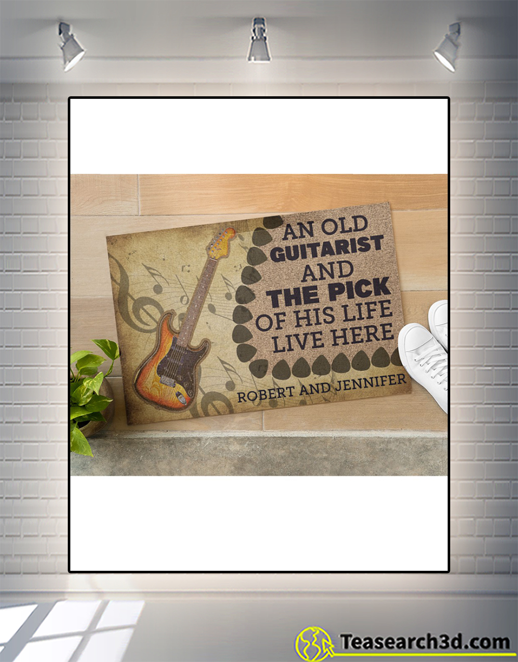 Personalized name An old guitarist and the pick of his life live here doormat size S