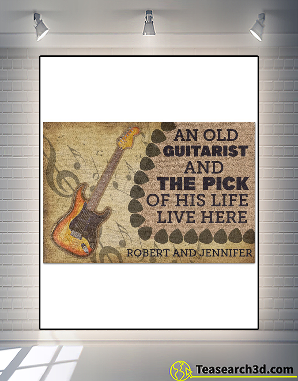 Personalized name An old guitarist and the pick of his life live here doormat