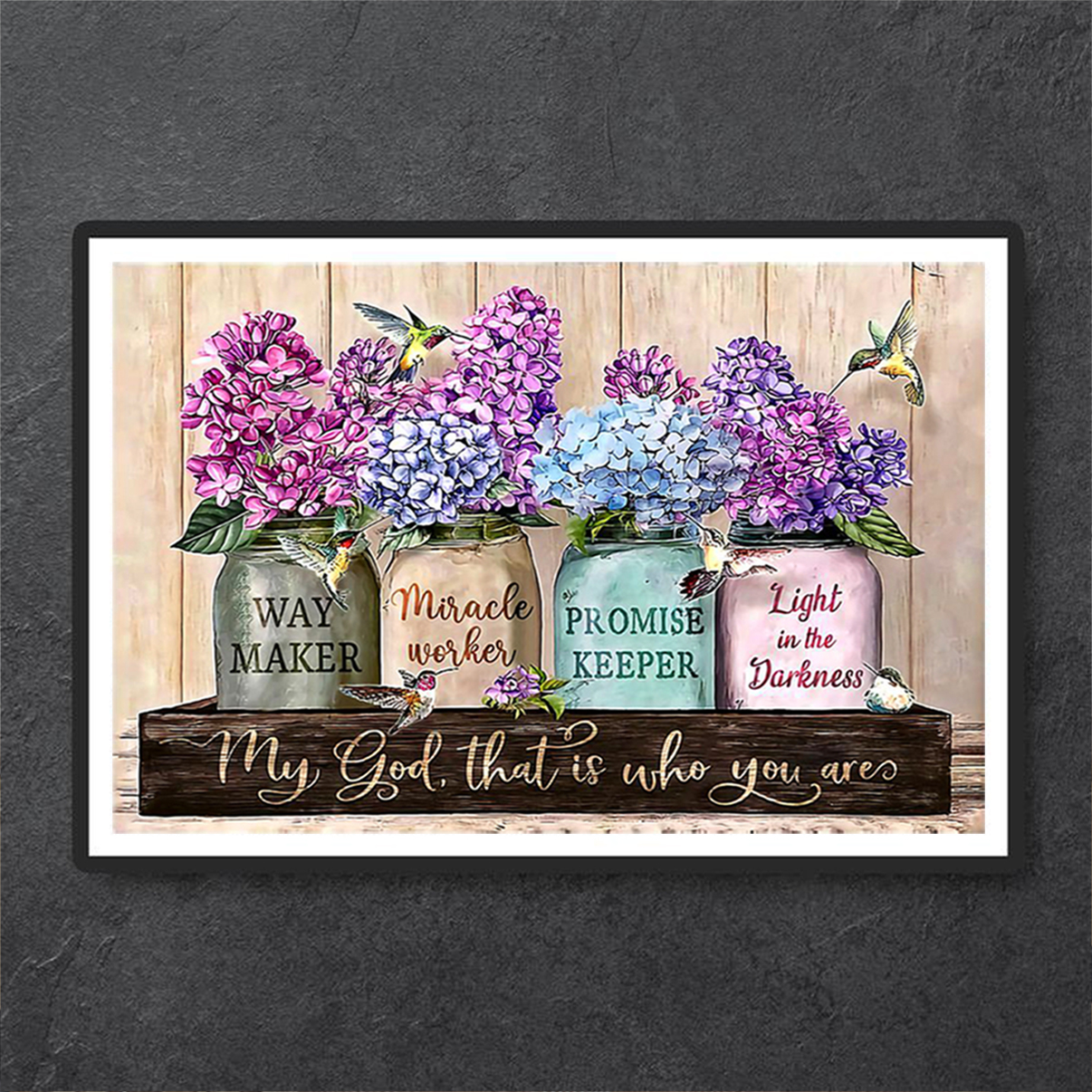 Purple flowers way maker miracle worker poster A1