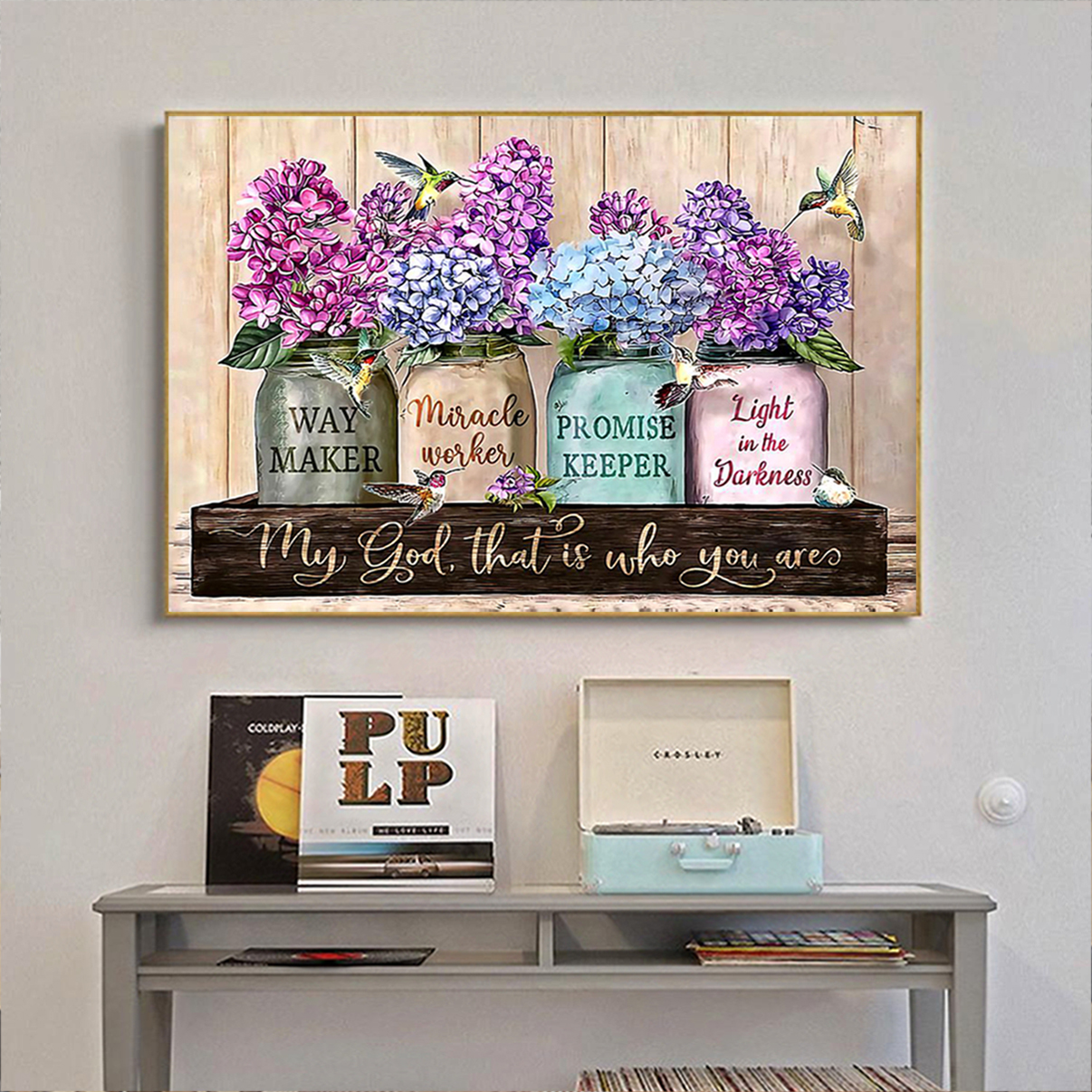 Purple flowers way maker miracle worker poster A2