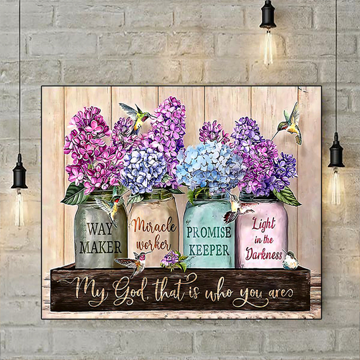 Purple flowers way maker miracle worker poster A3