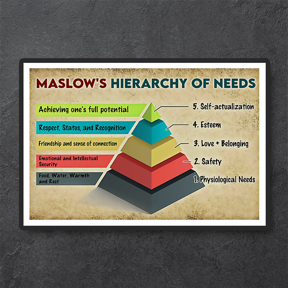 Social worker maslow's hierarchy of needs poster A1