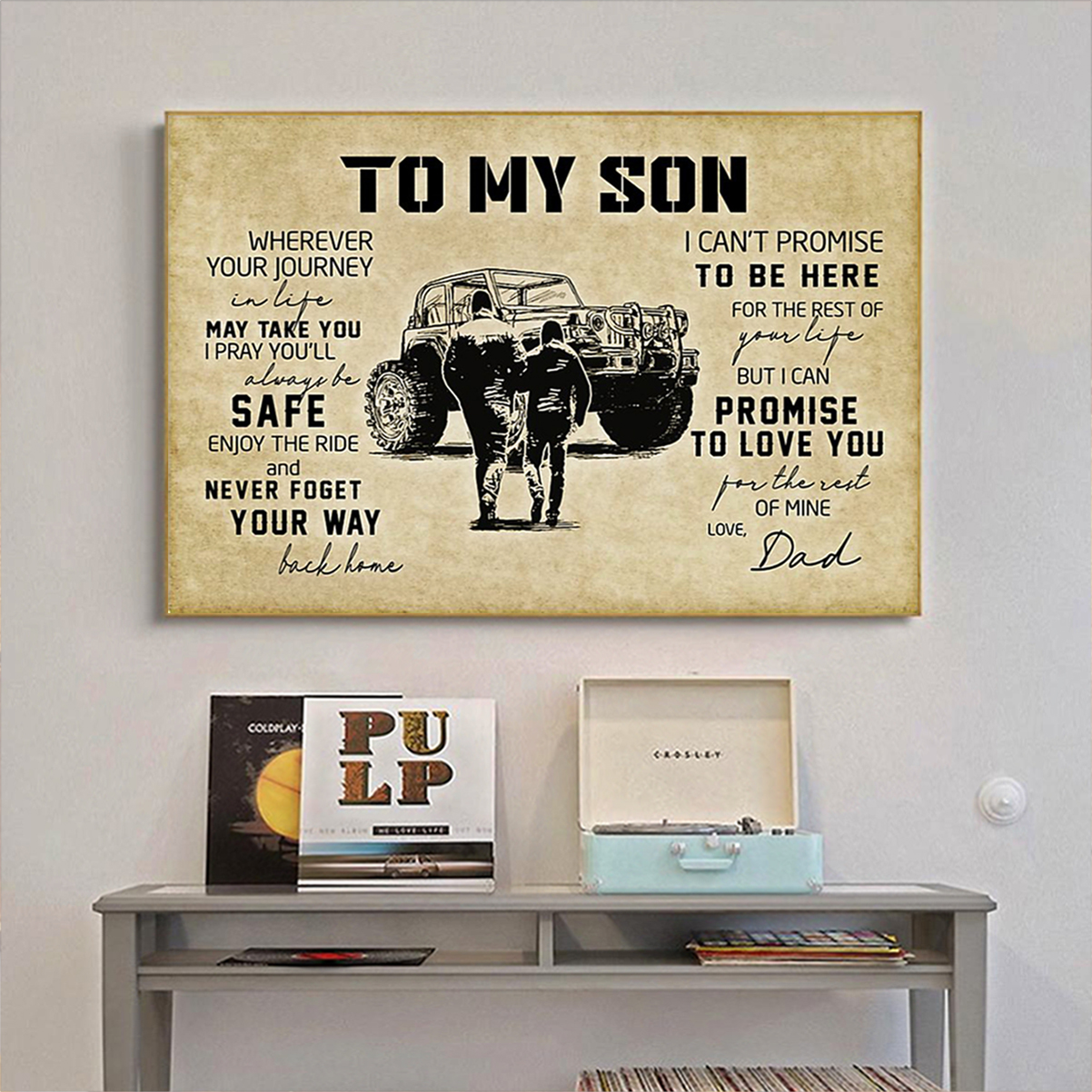 Tractor to my son love dad poster A2