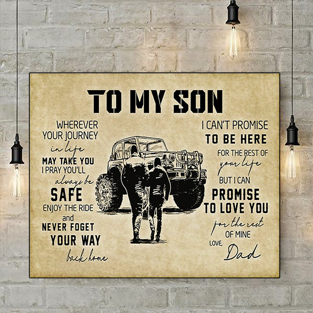 Tractor to my son love dad poster A3