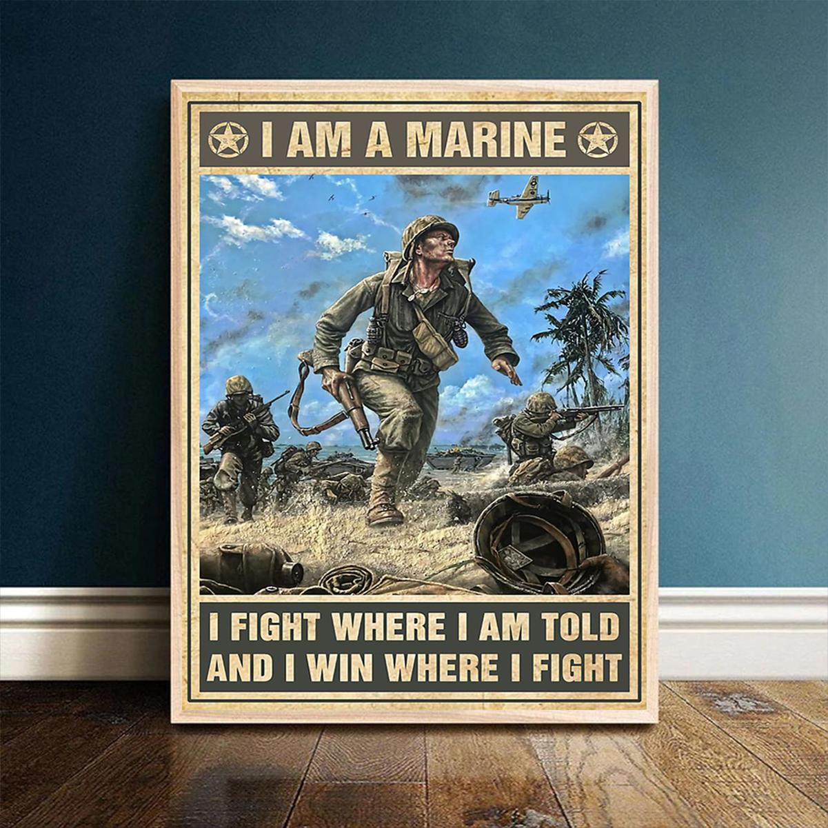 Veteran I am marine poster A1