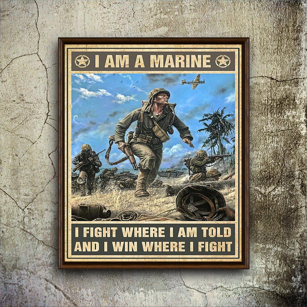Veteran I am marine poster A2