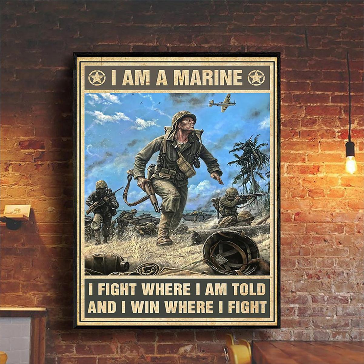 Veteran I am marine poster A3