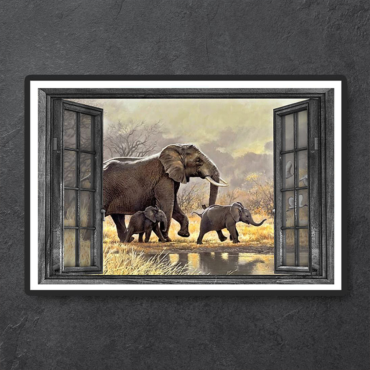 Window elephant family poster A1