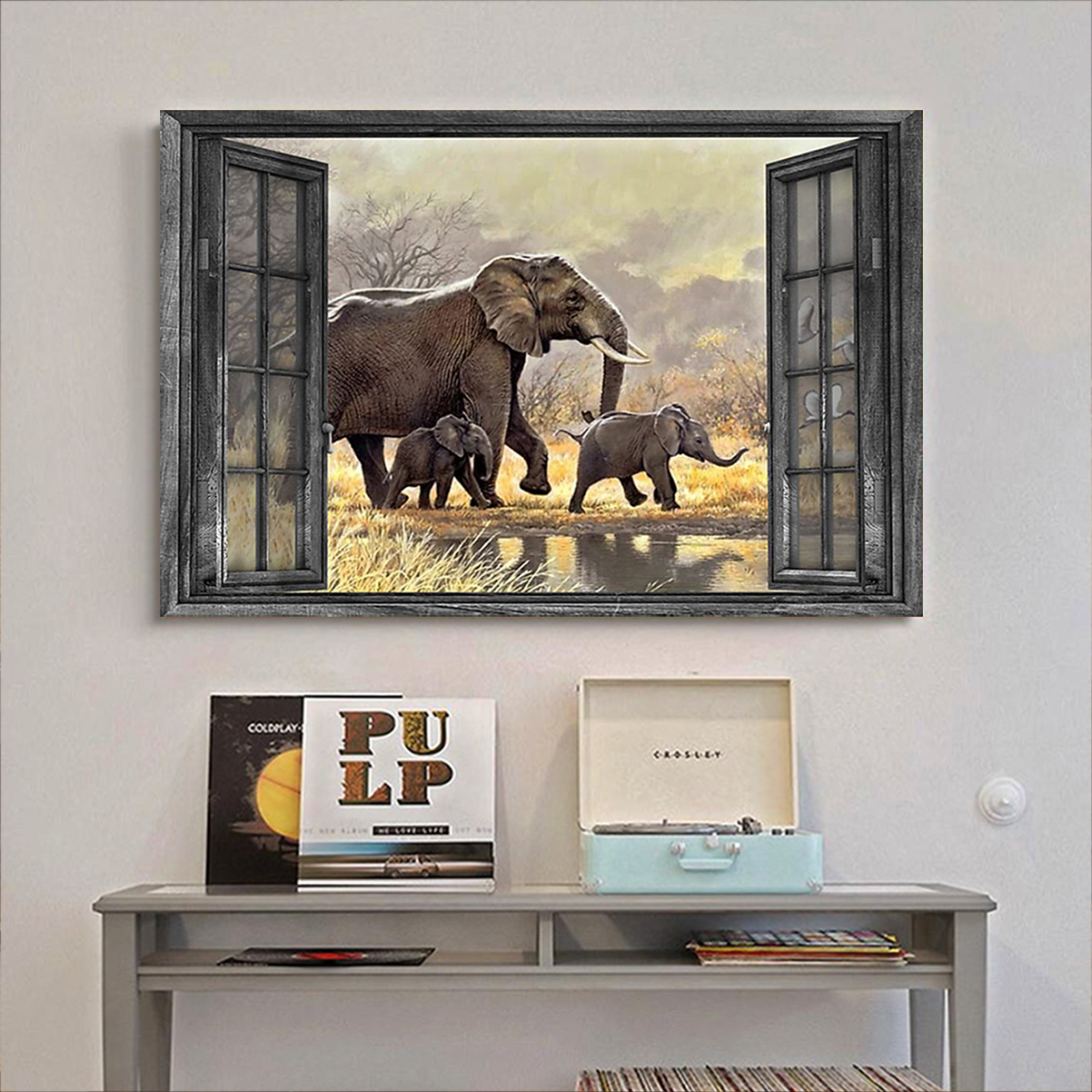 Window elephant family poster A2