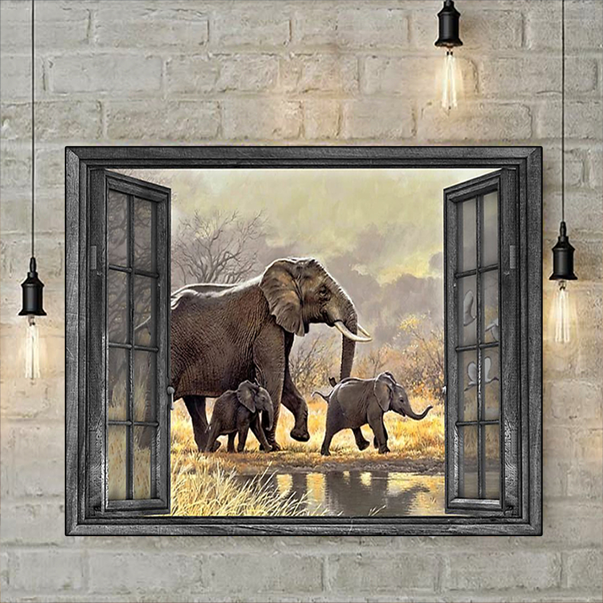 Window elephant family poster A3