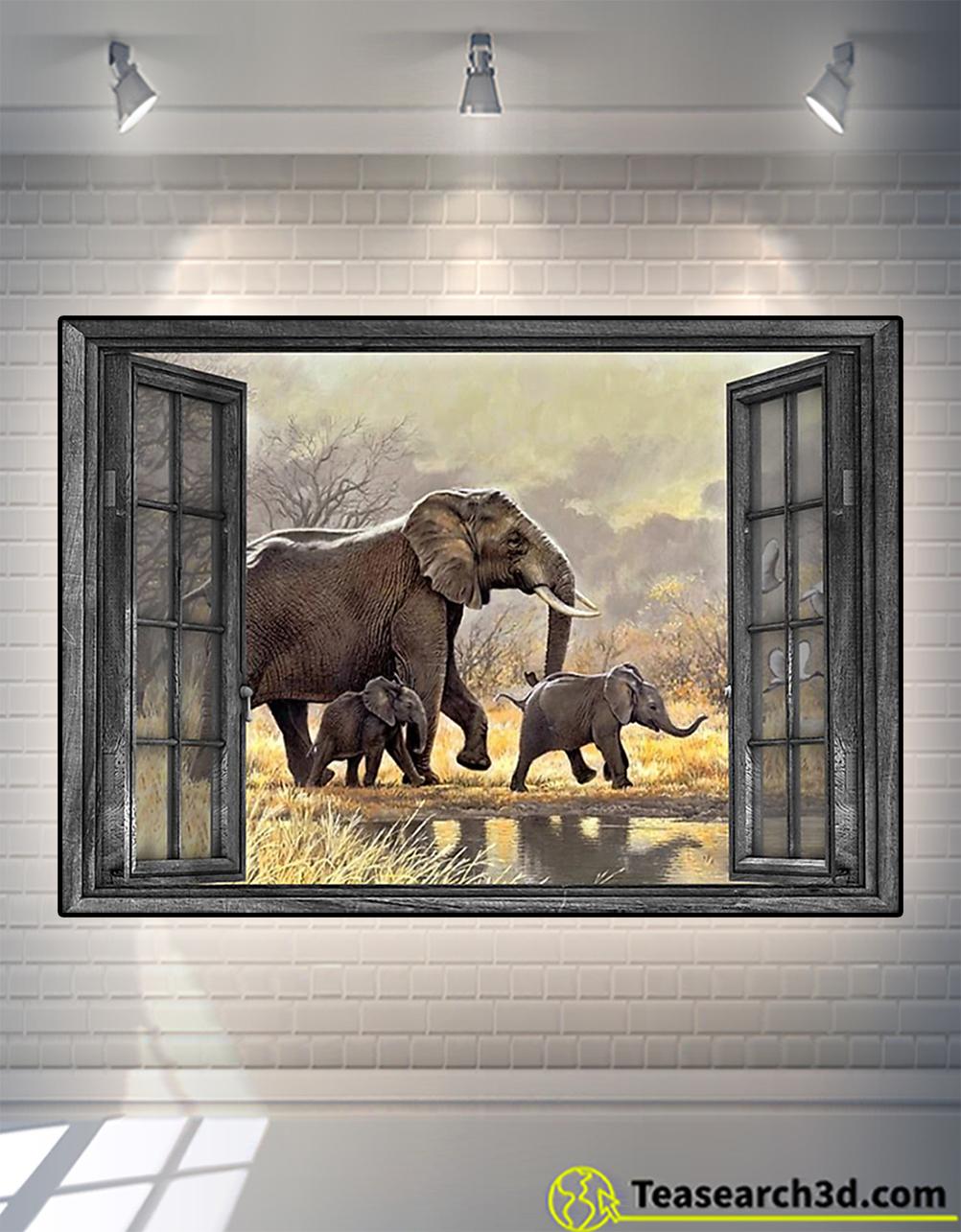 Window elephant family poster