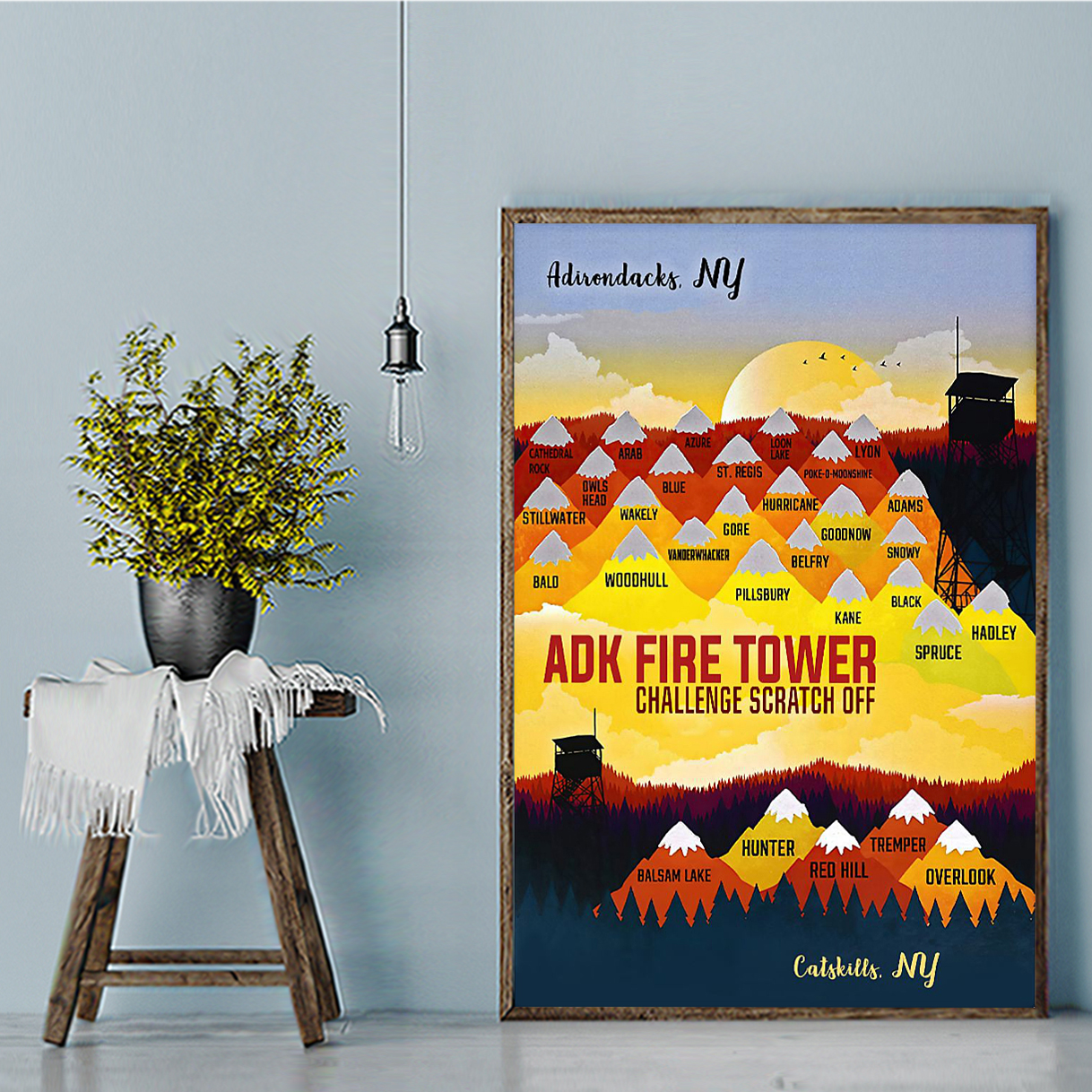 ADK fire tower challenge scratch off poster A2