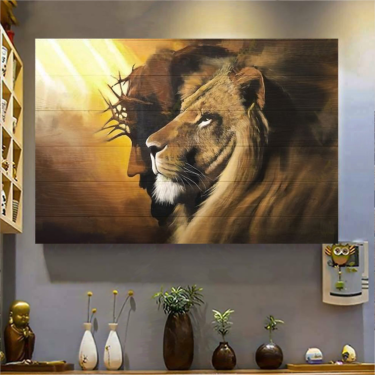 Awesome lion and god canvas large