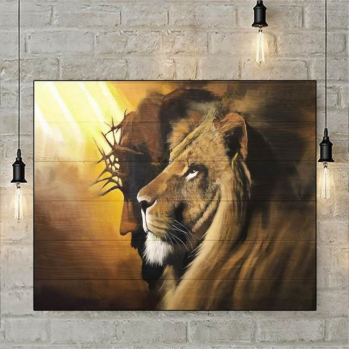 Awesome lion and god canvas medium