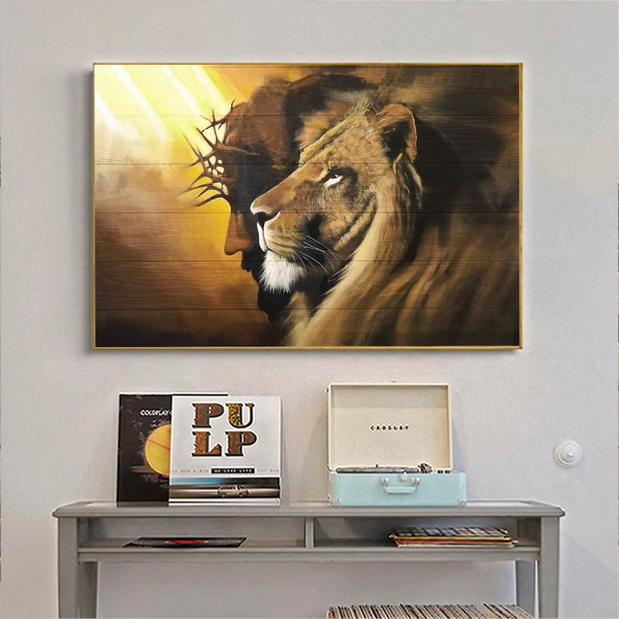 Awesome lion and god canvas small