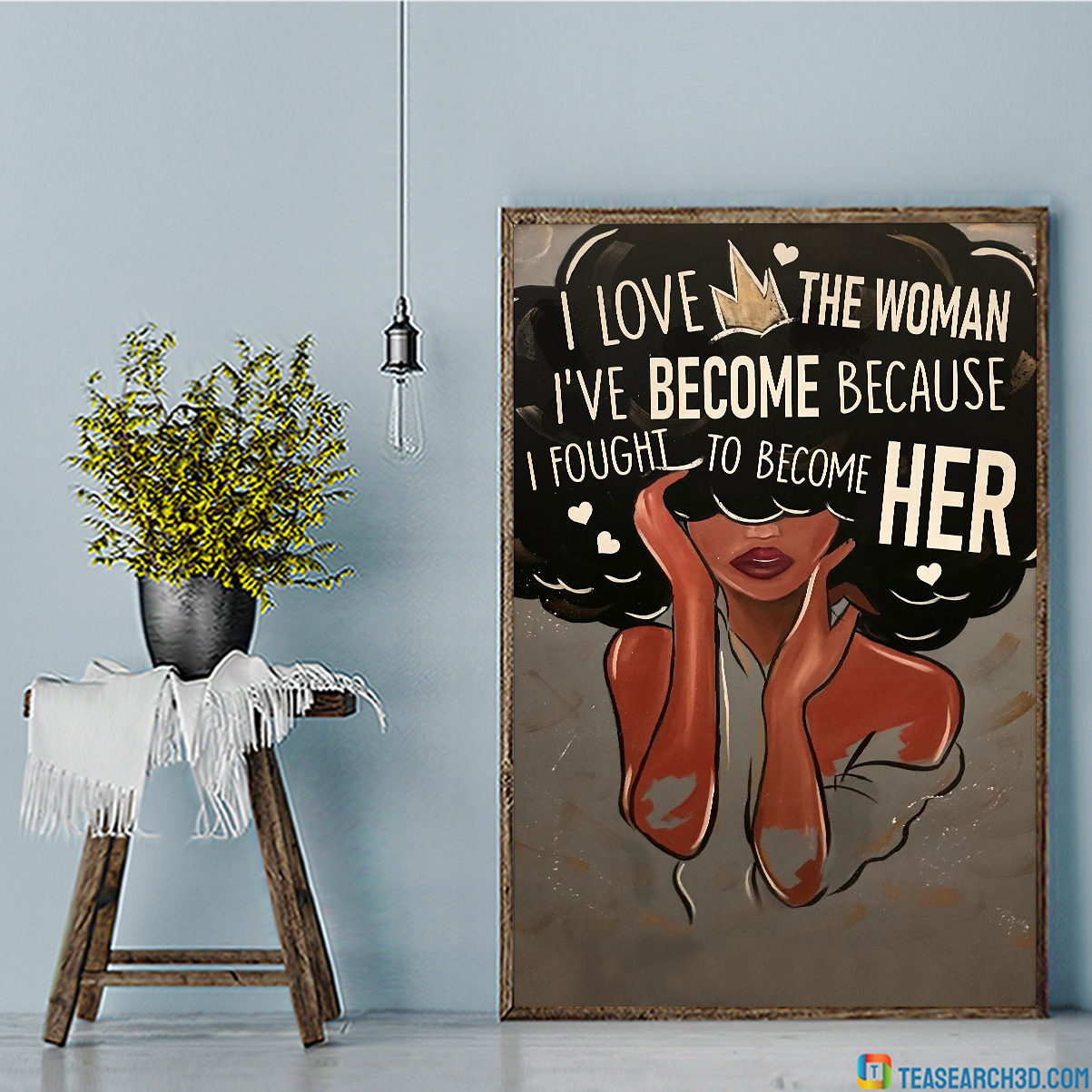 Black I love the woman personalized custom name poster A1