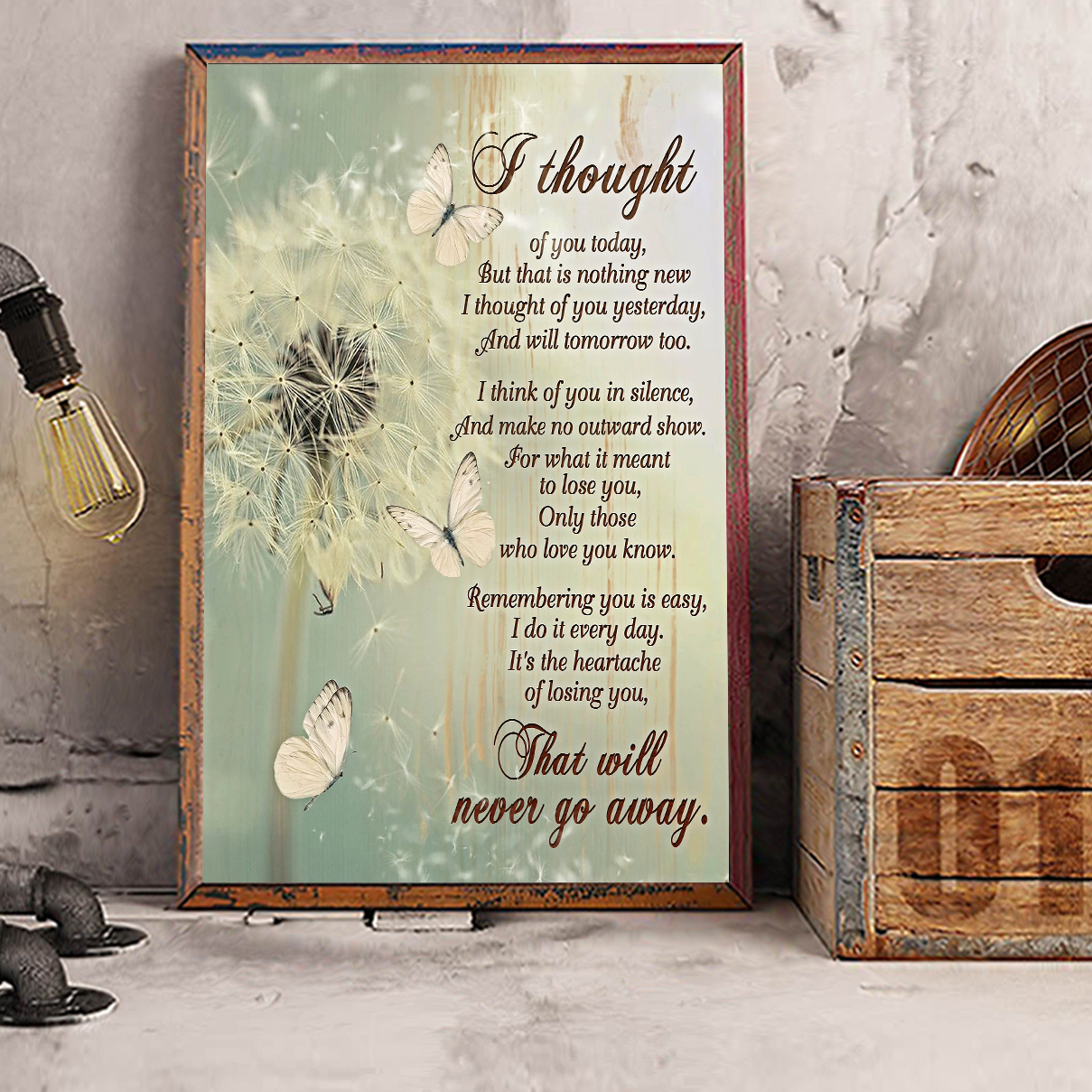 Butterfly dandelion I thought of you today canvas large
