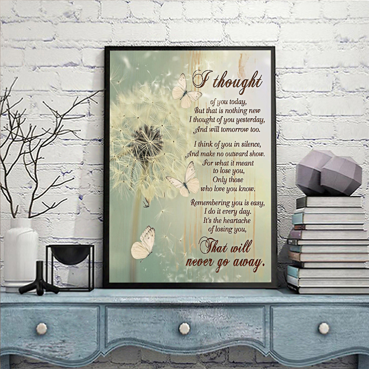 Butterfly dandelion I thought of you today canvas medium