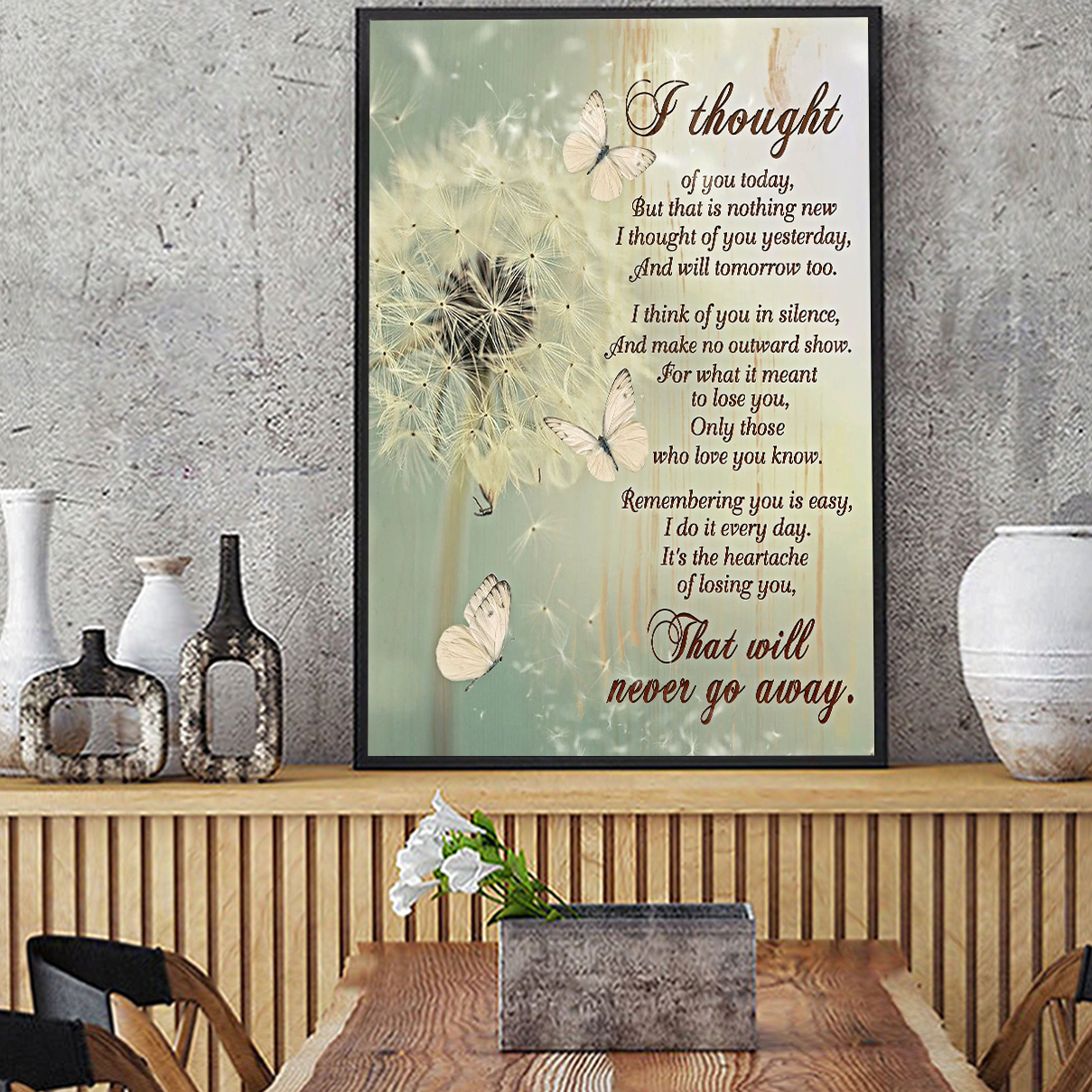 Butterfly dandelion I thought of you today canvas small