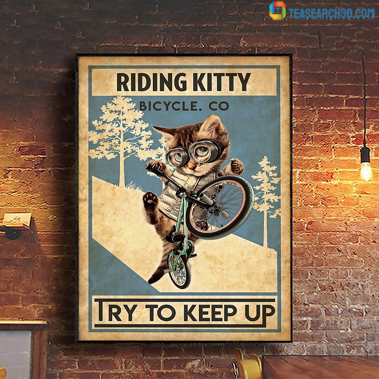 Cat riding kitty bicycle co try to keep up canvas