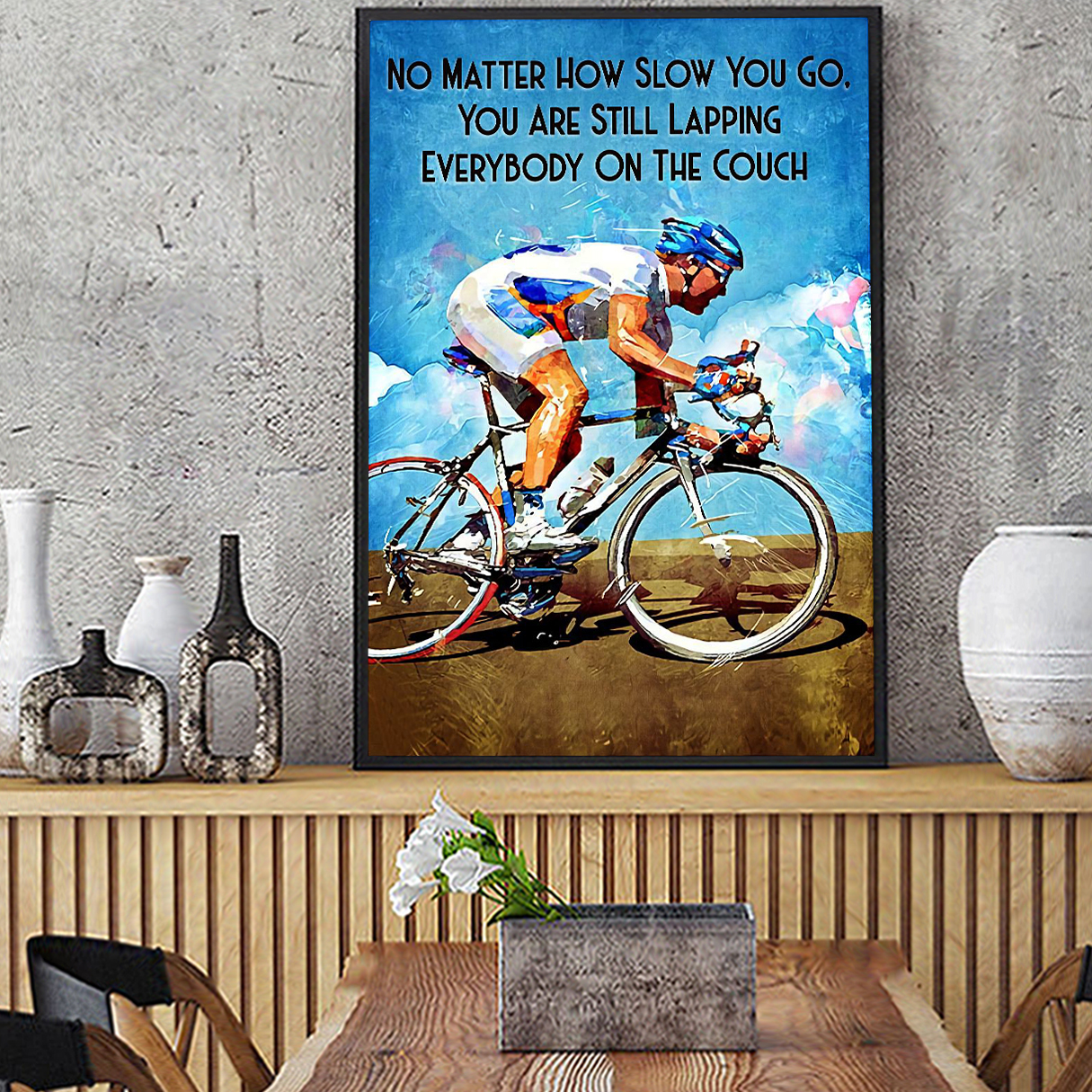 Cycling no matter how slow you go canvas medium