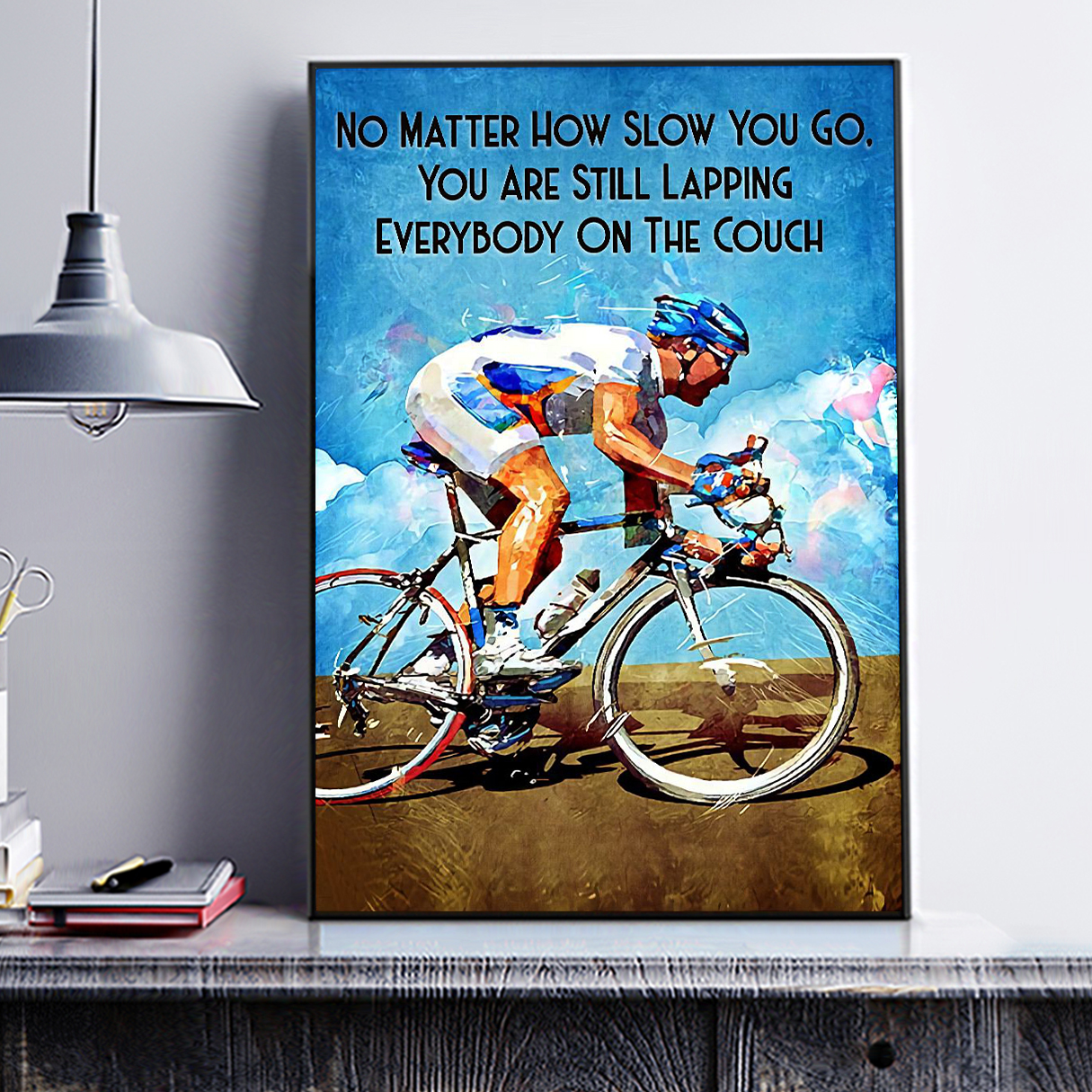 Cycling no matter how slow you go canvas small