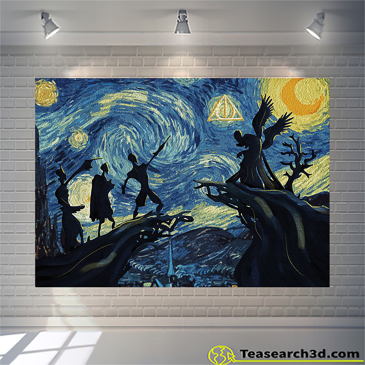 Deathly hallows harry potter starry night van gogh canvas