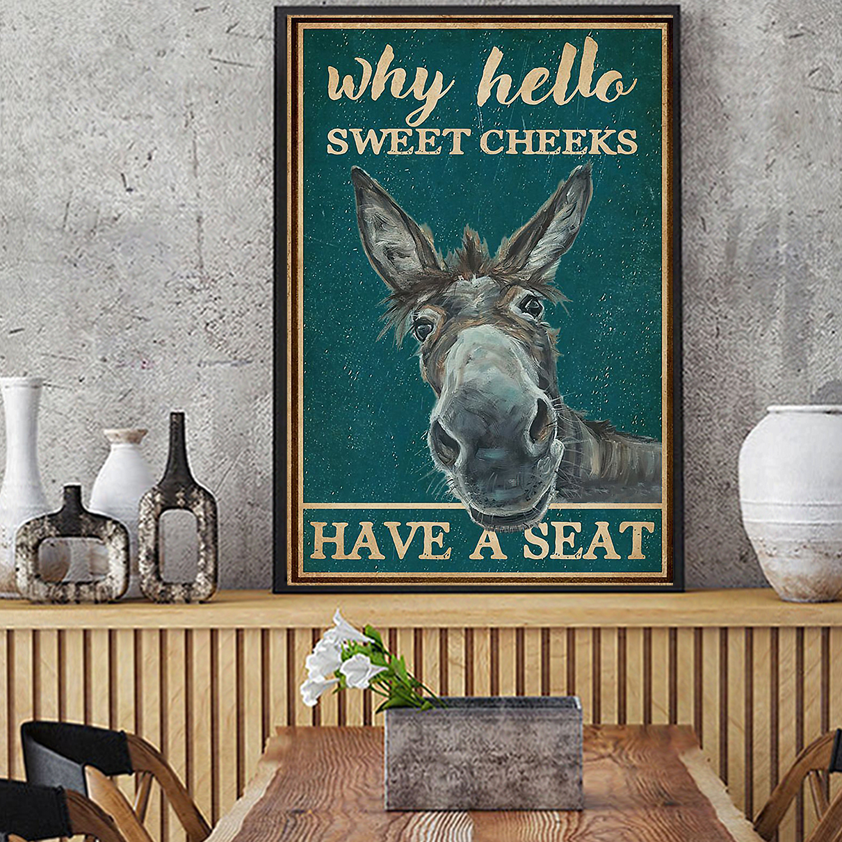 RETRO TEAL WHY HELLO SWEET CHEEKS DONKEY POSTER