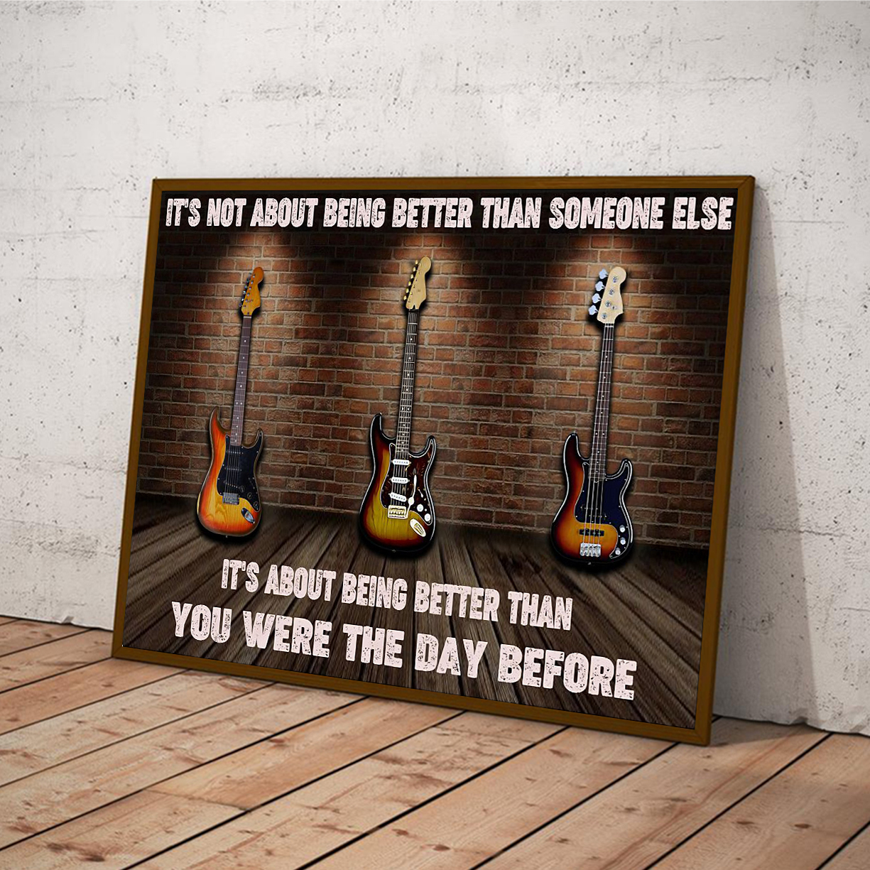 Electric guitar it's not about being better than someone else poster A3