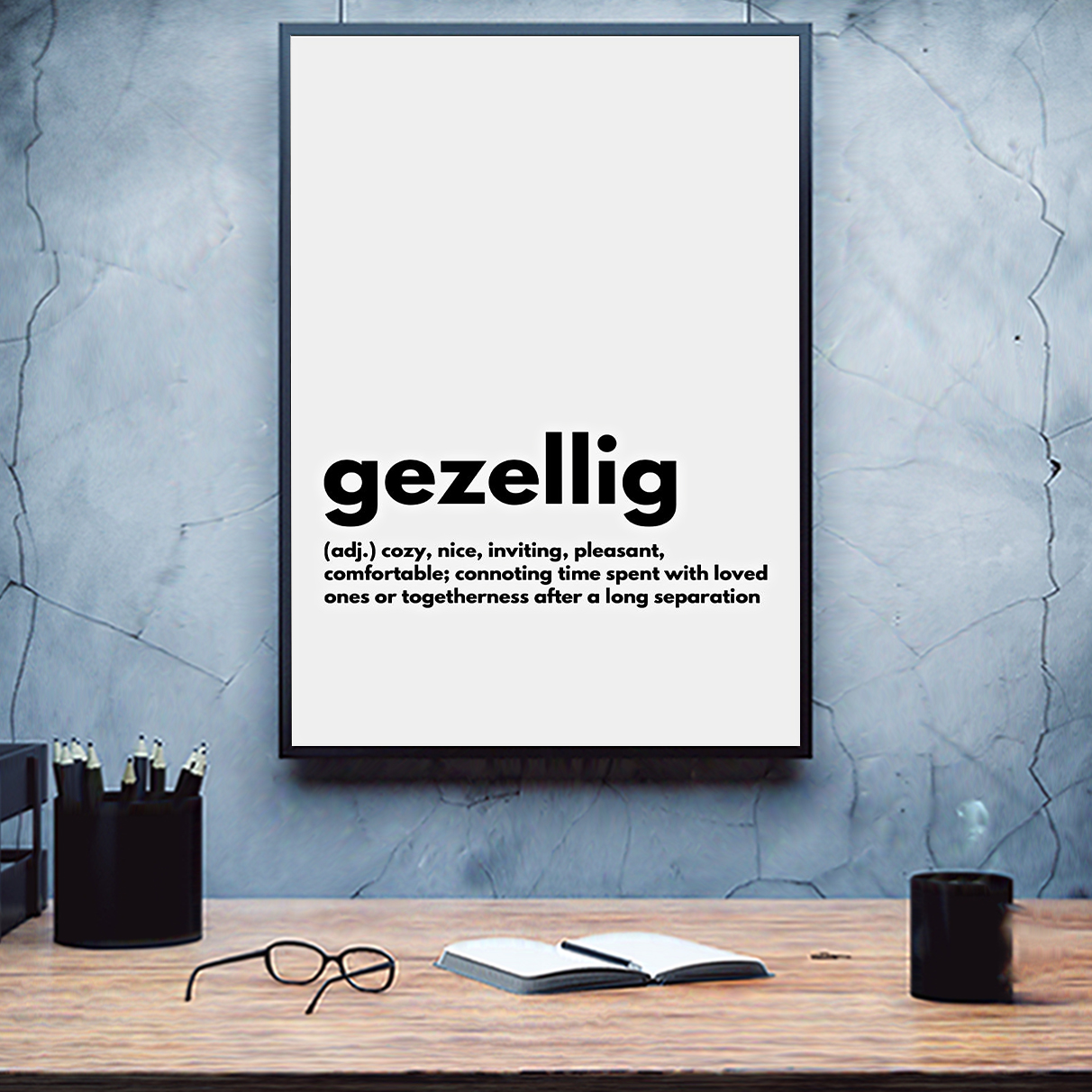 Gezellig definition cozy nice inviting poster A1