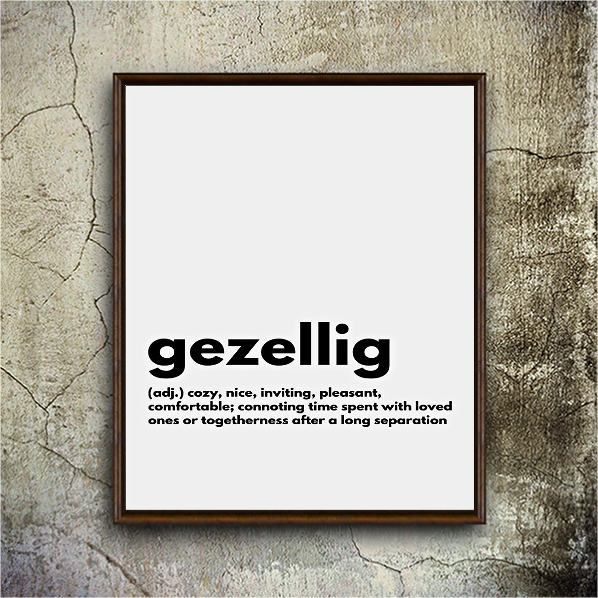 Gezellig definition cozy nice inviting poster A3