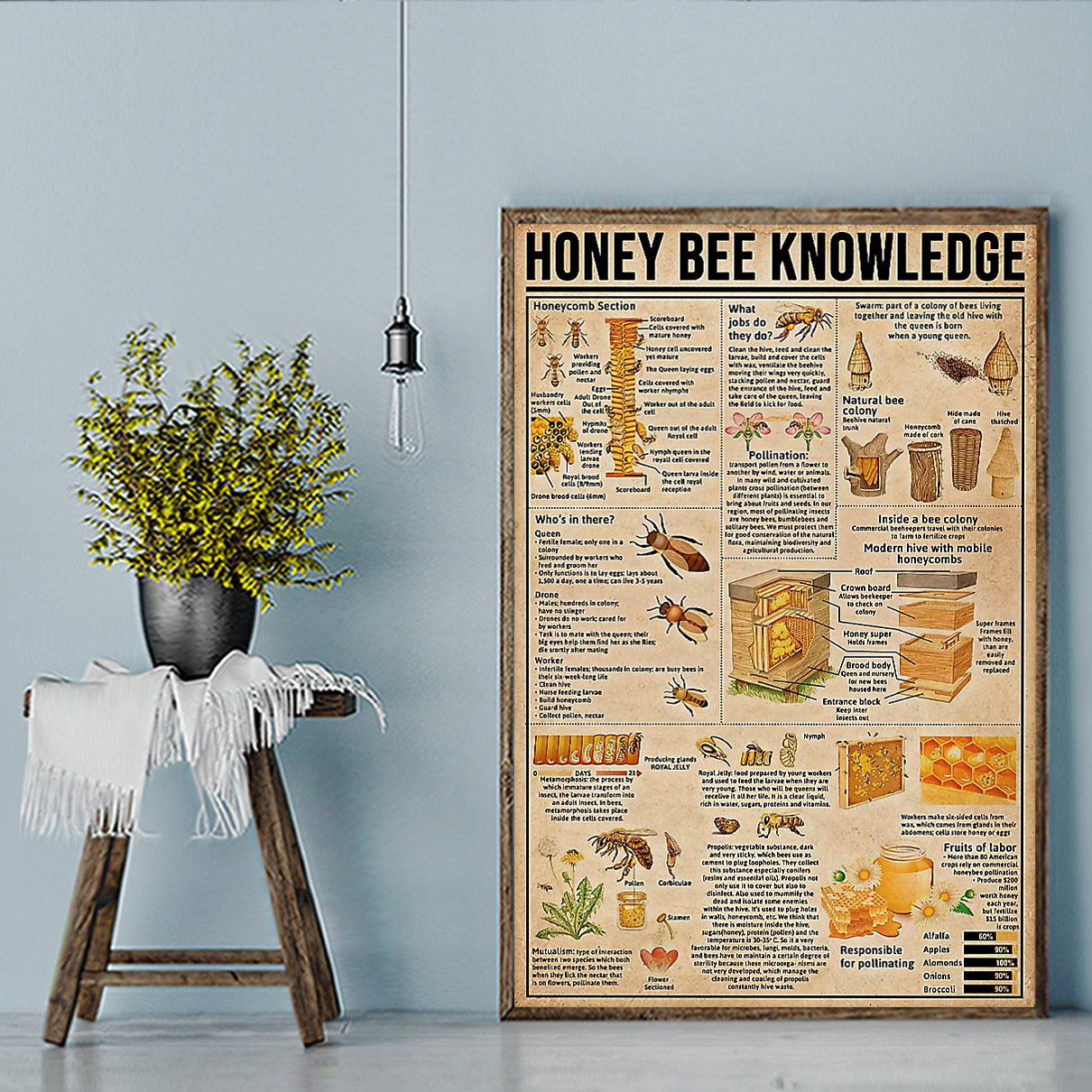 Honey bee knowledge poster A2