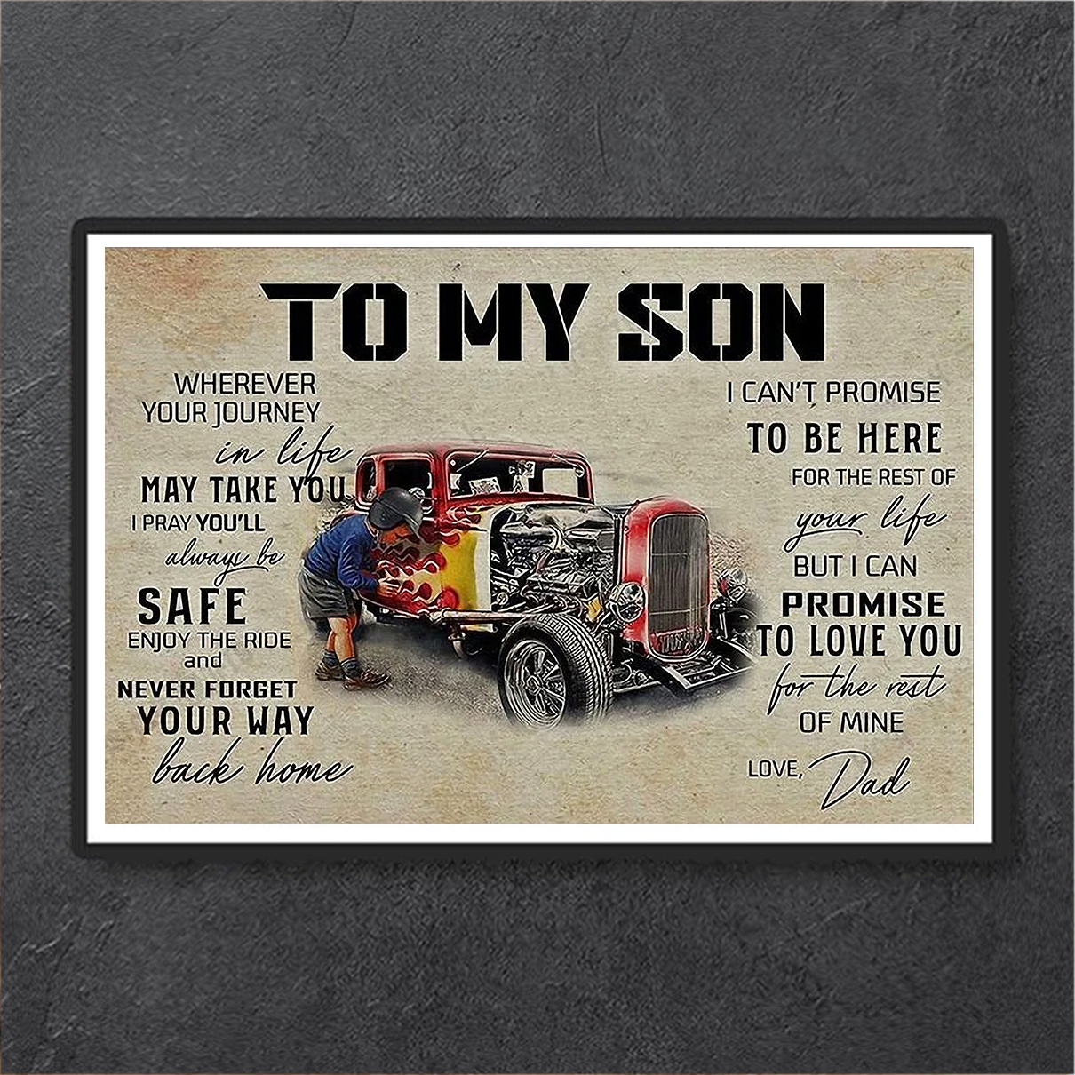 Hot rod to my son love dad canvas large