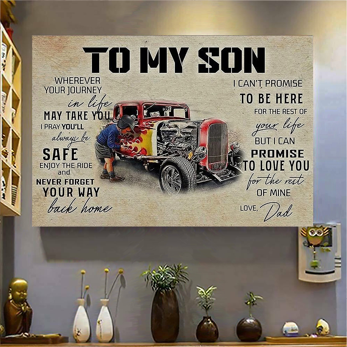 Hot rod to my son love dad canvas medium