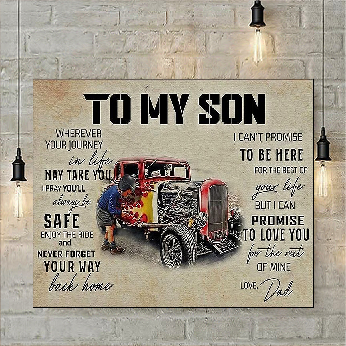 Hot rod to my son love dad canvas small
